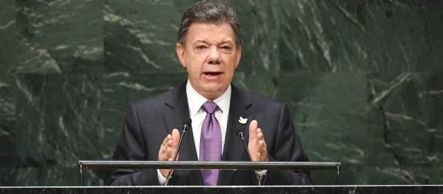 Juan Manuel Santos expresó ante la ONU que las víctimas son las protagonistas y principales beneficiarias de la paz que ahora se está buscando en Colombia. FOTO AFP