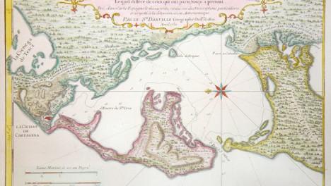 Mapa de las ciudades fortalezas puerto rada y alrededores de Cartagena. Nilcolas de Fer Hecho con privilegio del Rey,1700.Colección particular