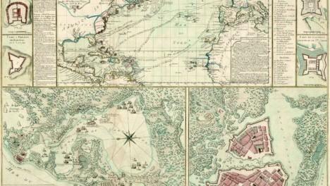 Beaurain, John, 1696-1771Mapa topográfico de la bahía, la ciudad de Cartagena sus fuertes y baterías de defensa. Todos los planes detallados procedentes de encuestas sobre la guerra en 1741.