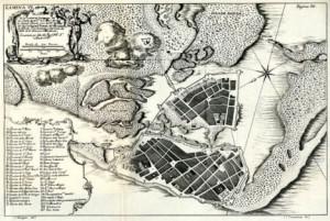 fortificaciones de Cartagena de Indias. Publicado en la obra 'Relación Histórica del Viaje a la América Meridional', de Jorge Juan y Antonio de Ulloa.