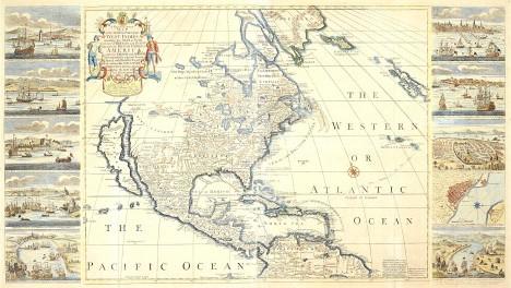 Thomas Bakewell. América, un mapa nuevo y exacto de acuerdo con las observaciones de ultimos viajeros del año 1748 comunicadas a la English Royal Society y a la French Royall Academy of Science