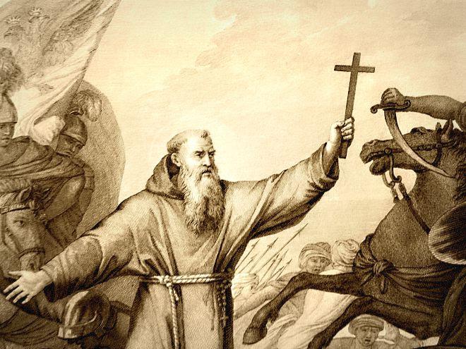 """"""" El santo religioso, cruz en la mano, se dirigió a los soldados y les aseguró una victoria segura ."""""""