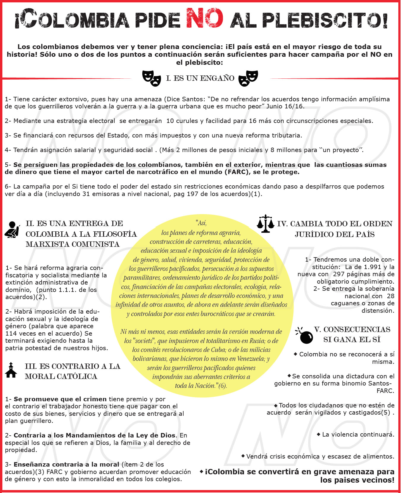 ¡Colombia pide NO al plebiscito!