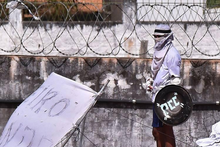 Banda delictiva PCC durante un motín en una cárcel de Natal, Brasil.
