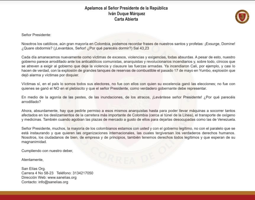 Carta Presidente Ivan Duque
