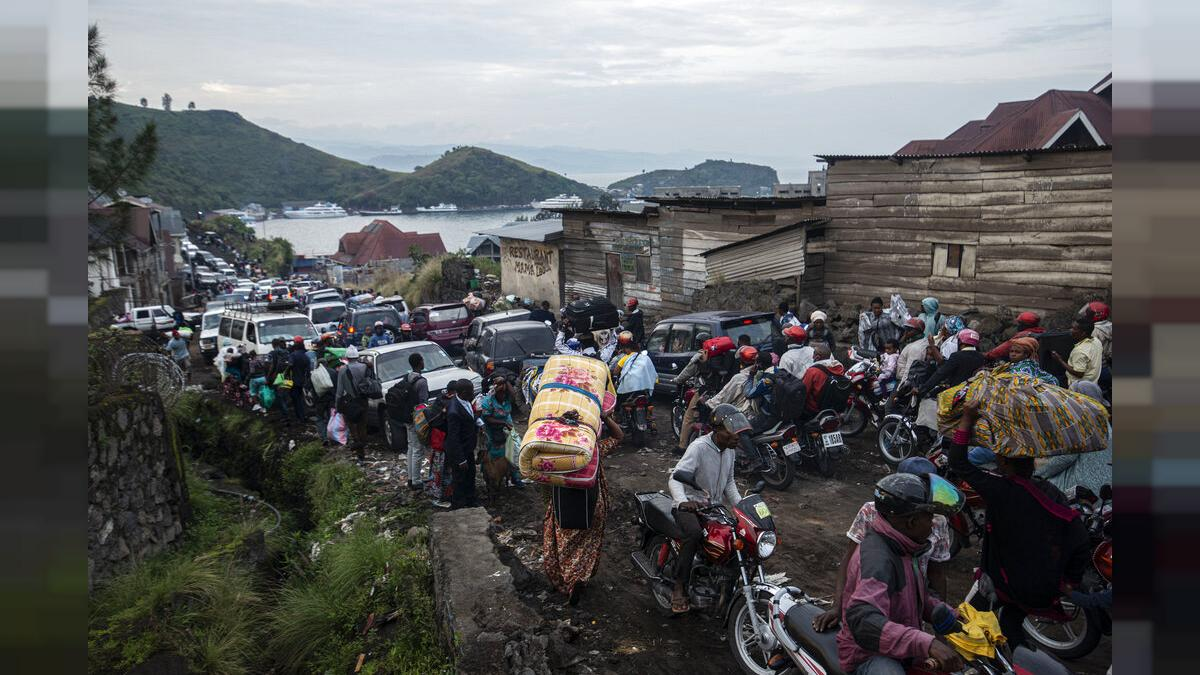 La población huyendo del volcán Nyiragongo